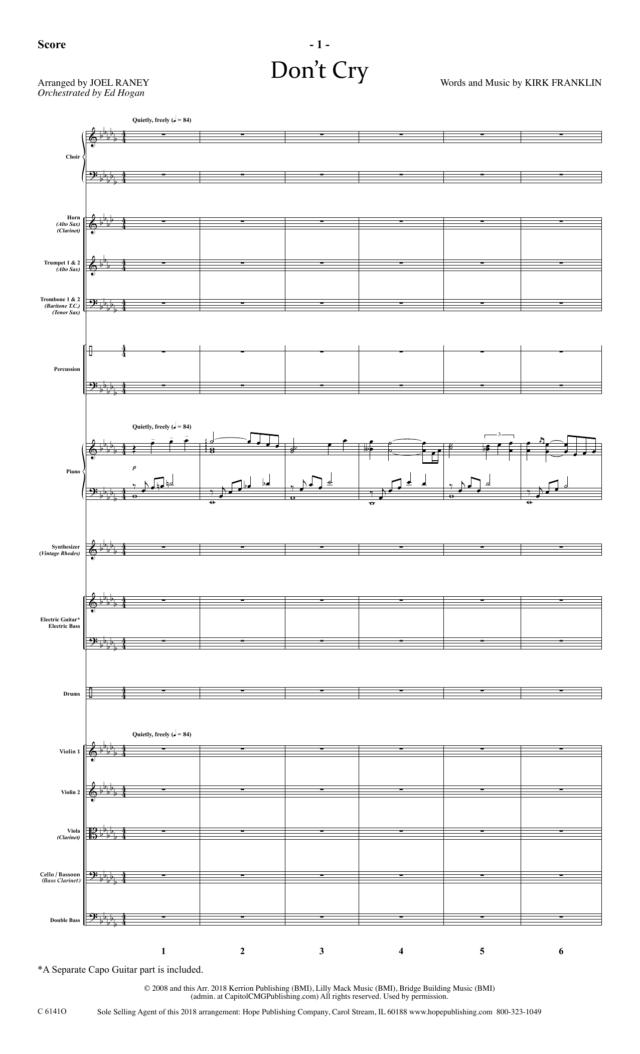 Joel Raney Don't Cry - Full Score sheet music notes and chords. Download Printable PDF.