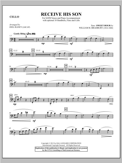 Joel Raney Receive His Son - Cello sheet music notes and chords. Download Printable PDF.