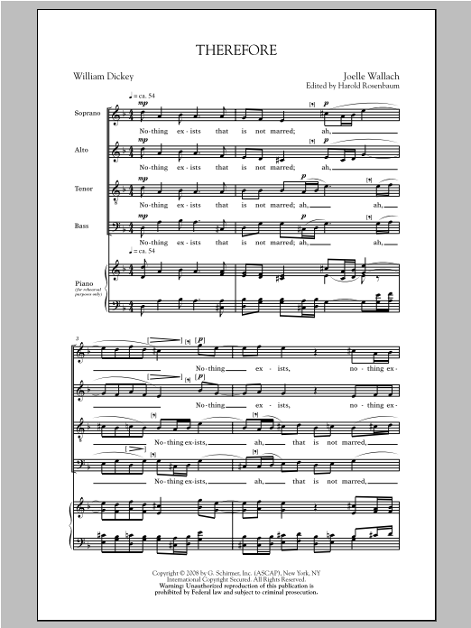 Joelle Wallach Therefore sheet music notes and chords. Download Printable PDF.