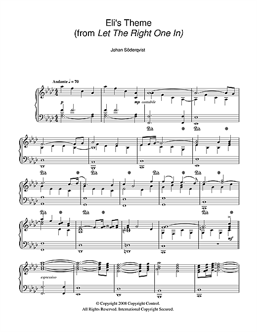 Johan Soderqvist Eli's Theme (from Let The Right One In) sheet music notes and chords. Download Printable PDF.