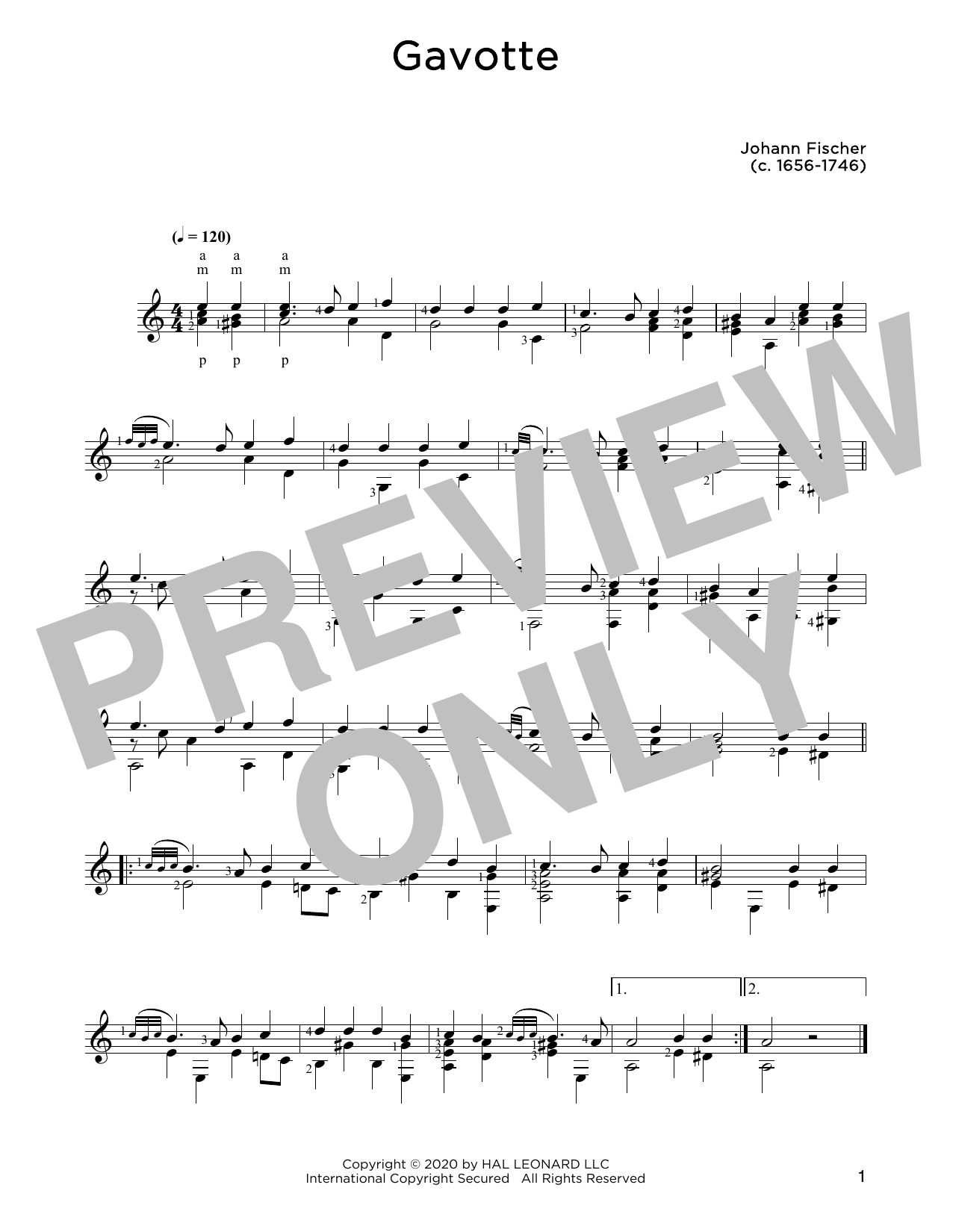 Johann Fischer Gavotte sheet music notes and chords. Download Printable PDF.