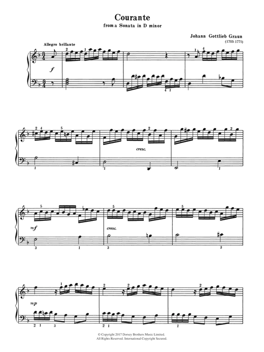 Johann Gottlieb Graun Courante (from a Sonata in D Minor) sheet music notes and chords. Download Printable PDF.