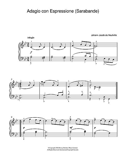 Johann Jacob de Neufville Adagio Con Espressione (Sarabande) sheet music notes and chords