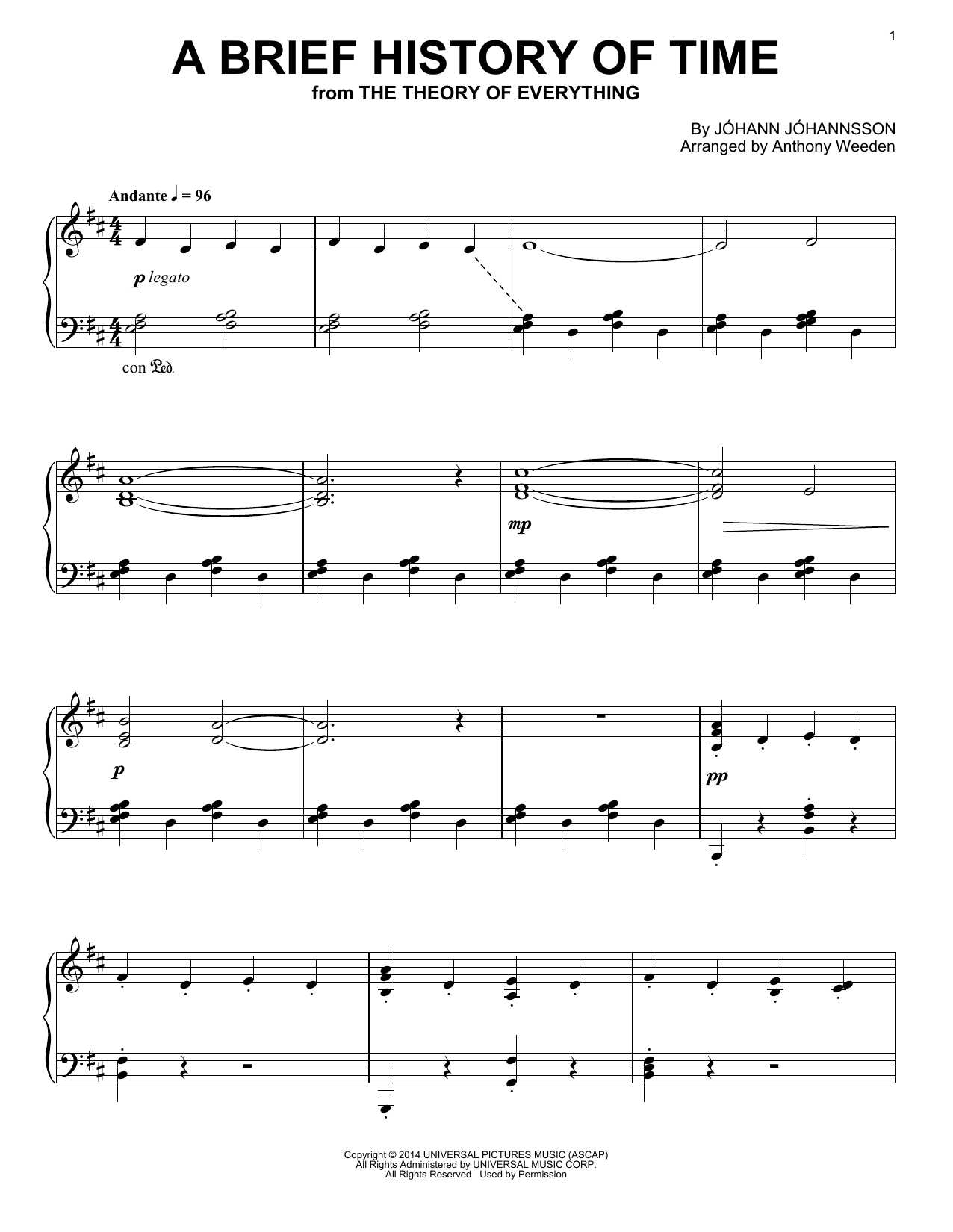 Johann Johannsson A Brief History Of Time sheet music notes and chords. Download Printable PDF.