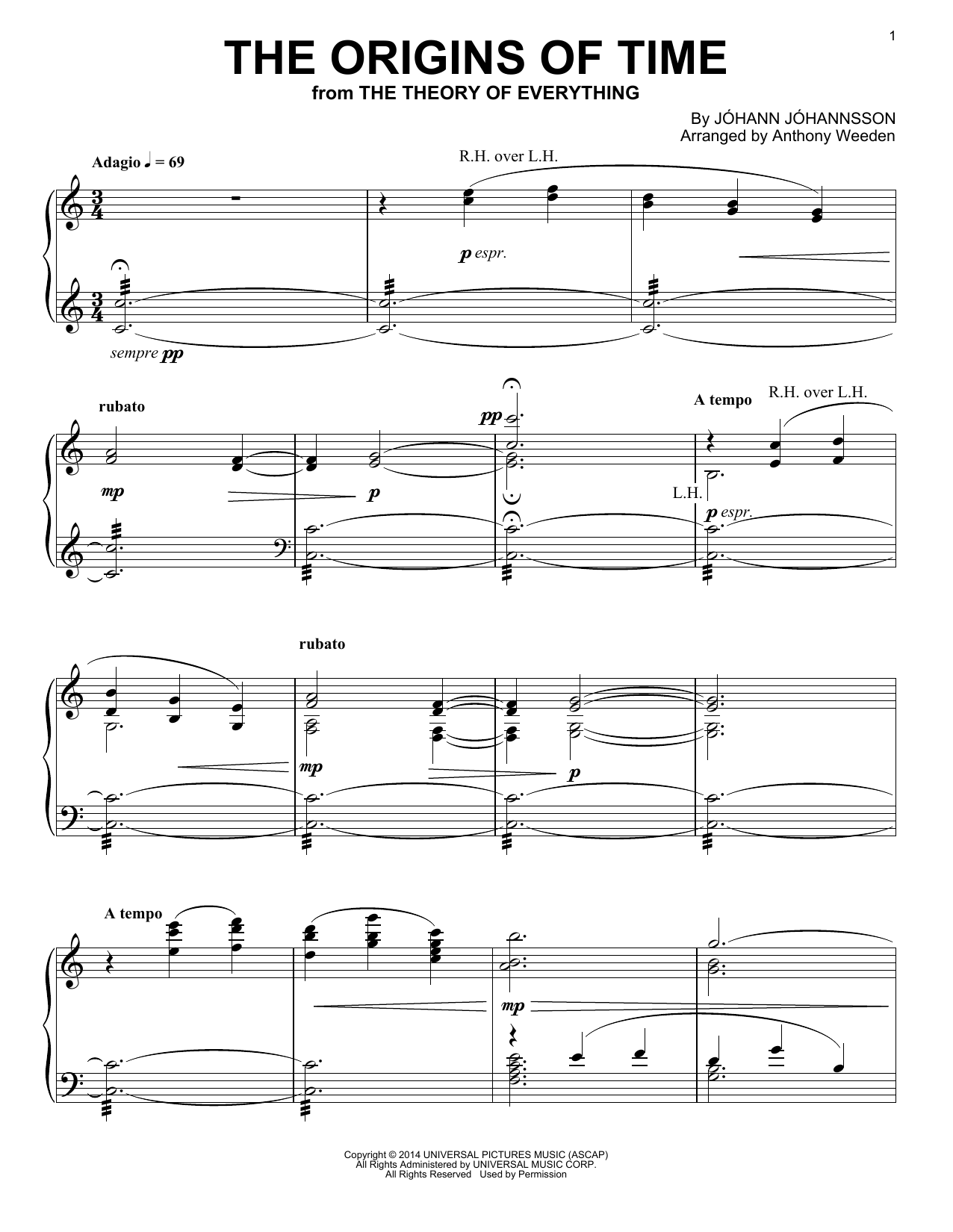 Johann Johannsson The Origins Of Time sheet music notes and chords. Download Printable PDF.