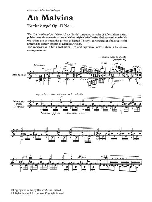 Johann Kaspar Mertz An Malvina sheet music notes and chords