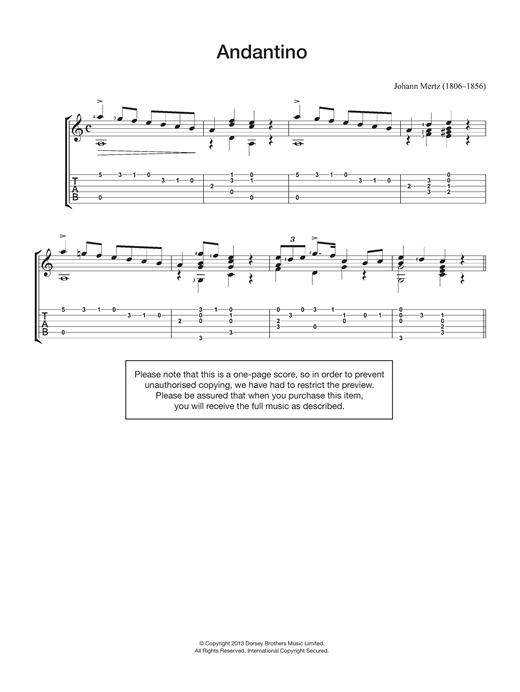 Johann Kaspar Mertz Andantino sheet music notes and chords. Download Printable PDF.