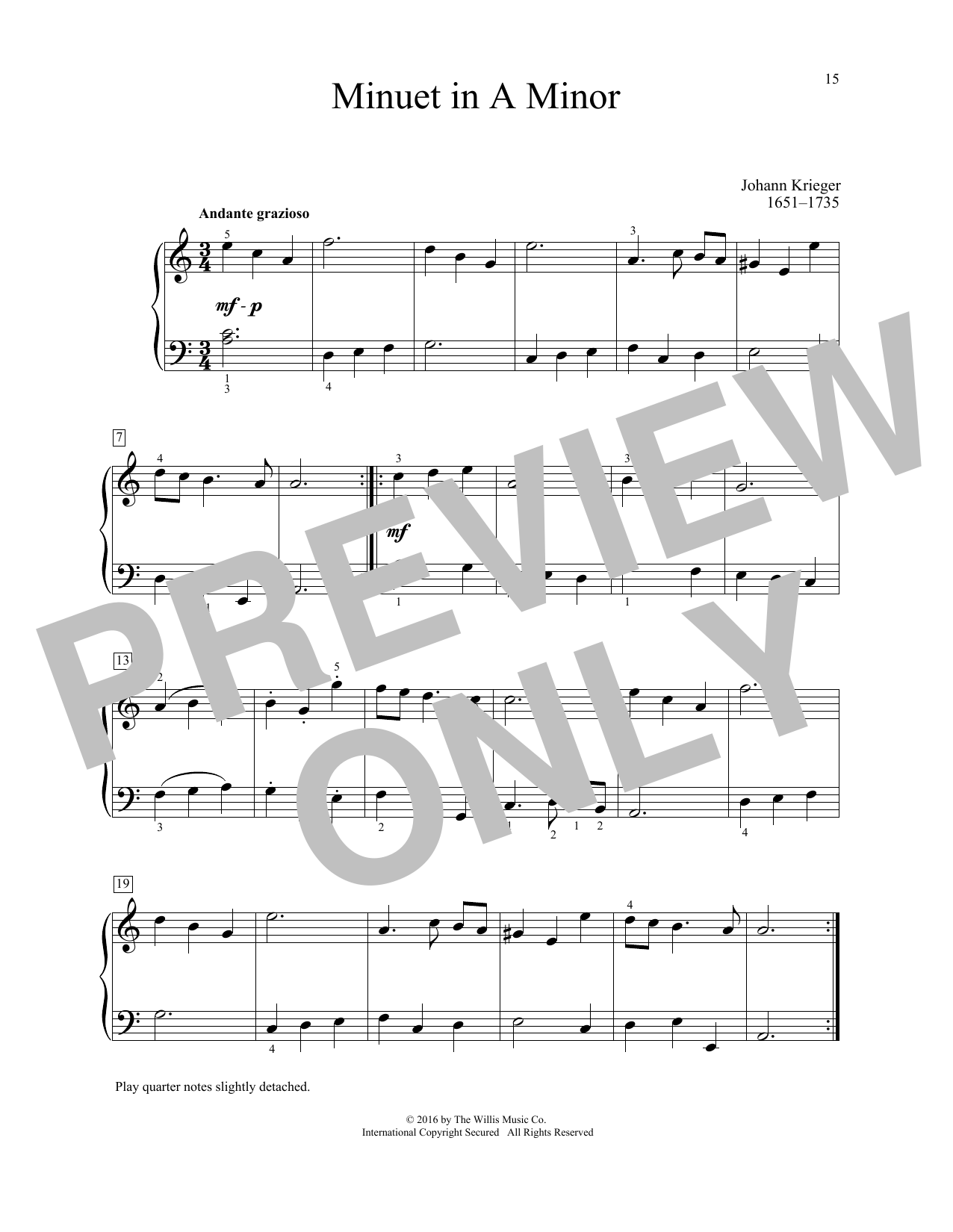 Johann Krieger Minuet In A Minor sheet music notes and chords. Download Printable PDF.