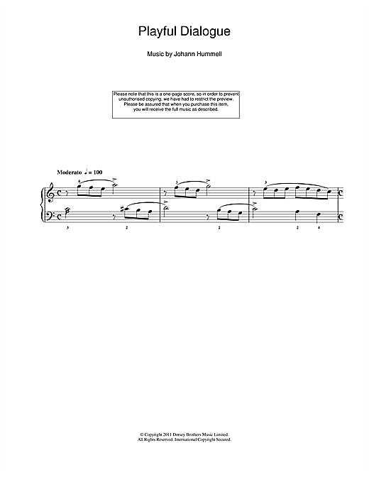Johann Nepomuk Hummel Playful Dialogue sheet music notes and chords. Download Printable PDF.