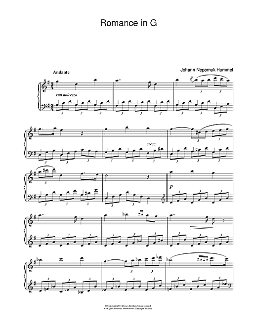 Johann Nepomuk Hummel Romance In G Op.52 No.4 sheet music notes and chords. Download Printable PDF.