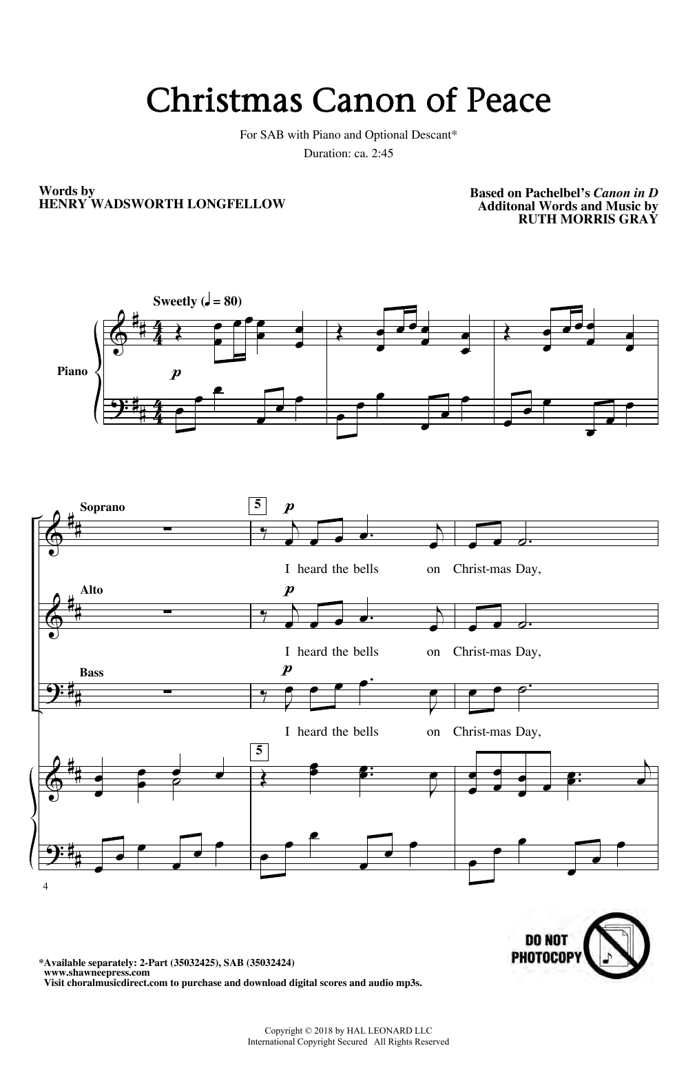 Johann Pachelbel Christmas Canon Of Peace (arr. Ruth Morris Gray) sheet music notes and chords