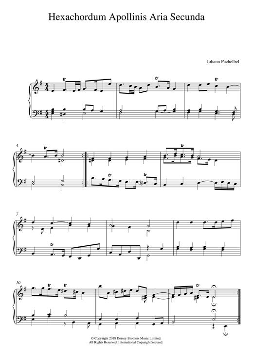 Johann Pachelbel Hexachordum Apollinis: Aria Secunda sheet music notes and chords. Download Printable PDF.