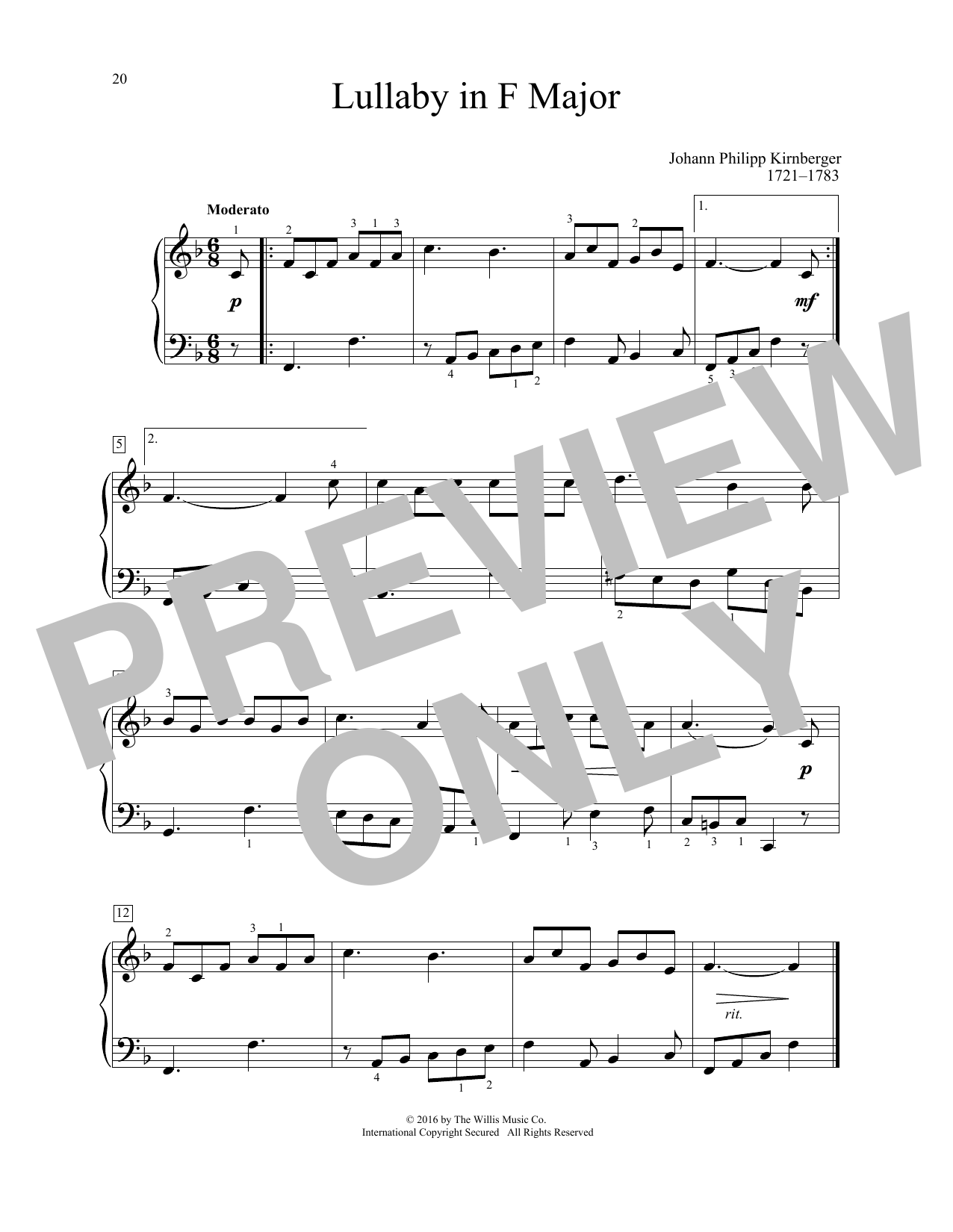 Johann Philipp Kirnberger Lullaby In F Major sheet music notes and chords. Download Printable PDF.