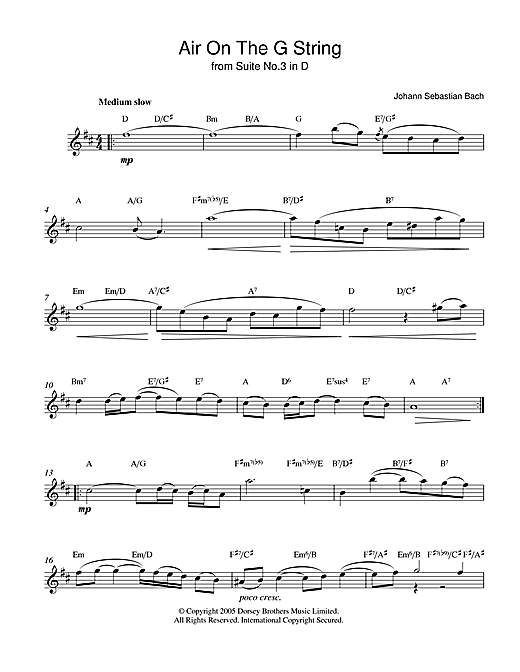 Johann Sebastian Bach Air On The G String (from Suite No.3 in D Major) sheet music notes and chords