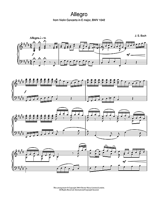 Johann Sebastian Bach Allegro From Violin Concerto In E Major, Bwv 1042 sheet music notes and chords
