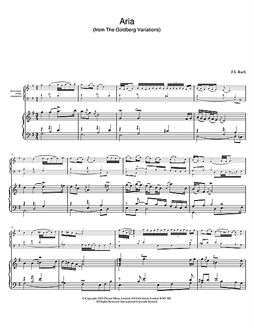 Johann Sebastian Bach Aria (from The Goldberg Variations) sheet music notes and chords