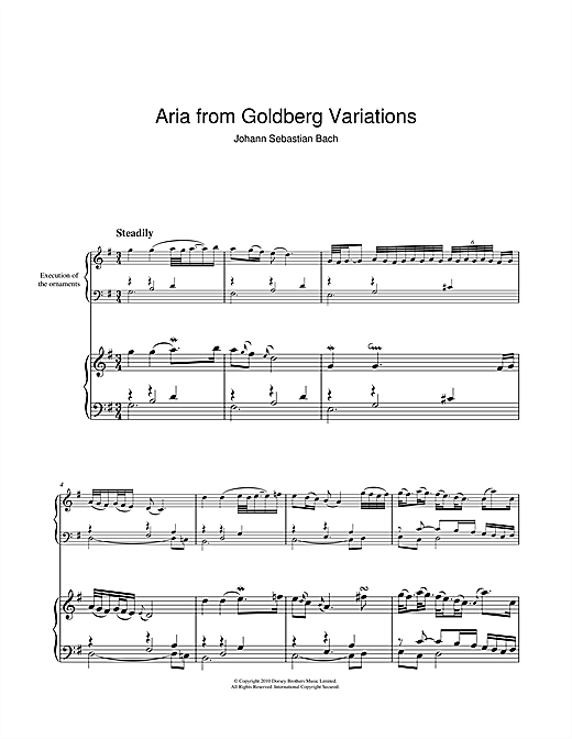 Johann Sebastian Bach Aria from The 'Goldberg' Variations sheet music notes and chords