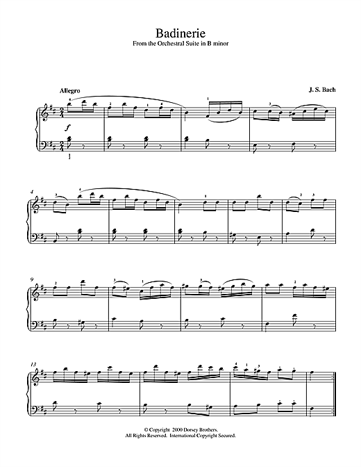 Johann Sebastian Bach Badinerie (from Orchestral Suite No. 2 in B Minor) sheet music notes and chords