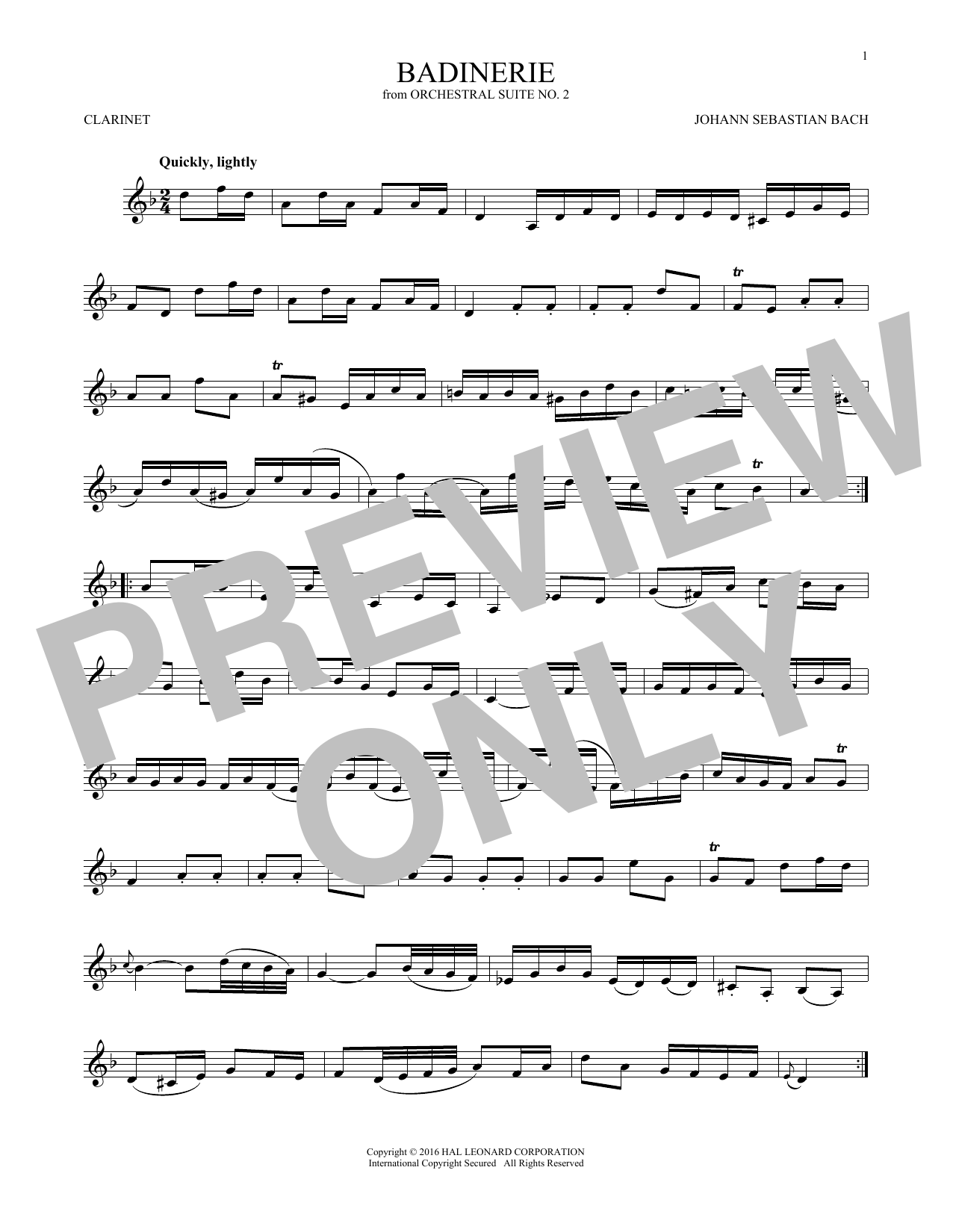 Johann Sebastian Bach Badinerie (Suite No. 2) sheet music notes and chords. Download Printable PDF.