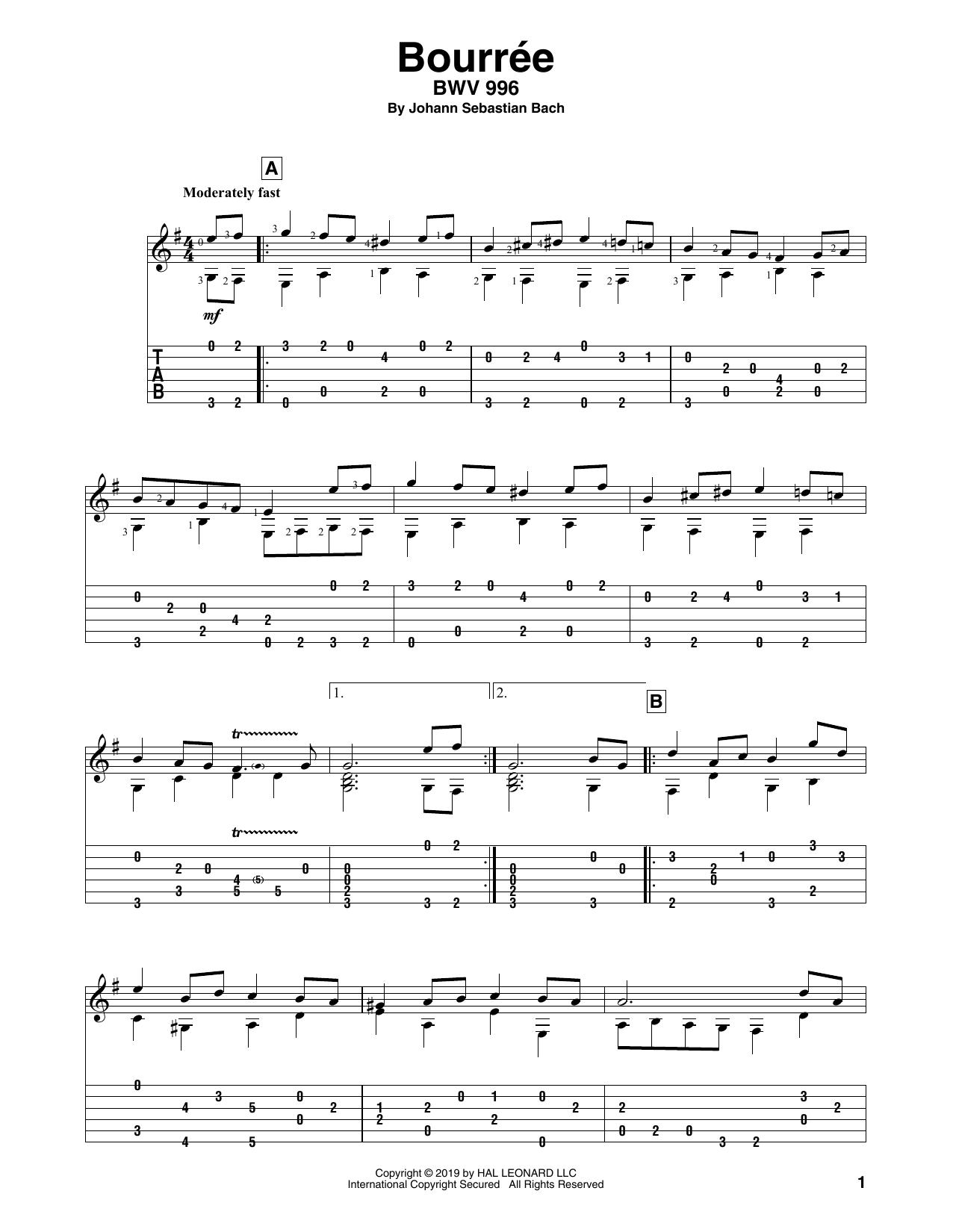 Johann Sebastian Bach Bouree sheet music notes and chords. Download Printable PDF.