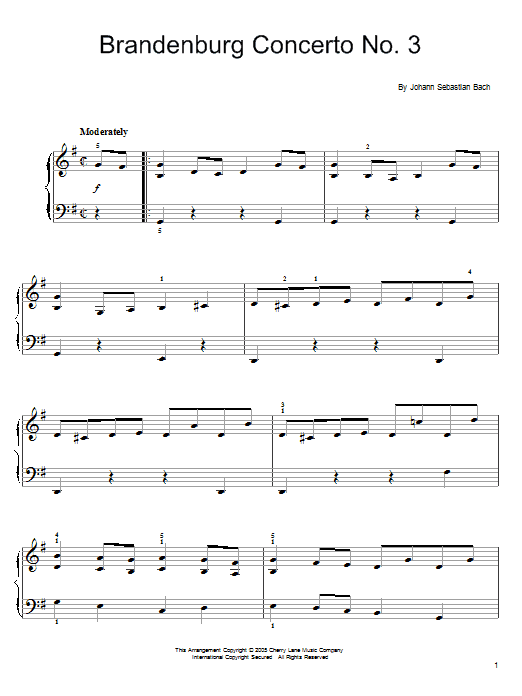 Johann Sebastian Bach Brandenburg Concerto No. 3 sheet music notes and chords. Download Printable PDF.