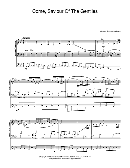Johann Sebastian Bach Come, Saviour Of The Gentiles sheet music notes and chords