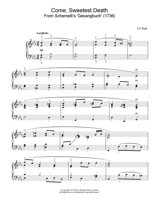 Johann Sebastian Bach Come, Sweetest Death sheet music notes and chords