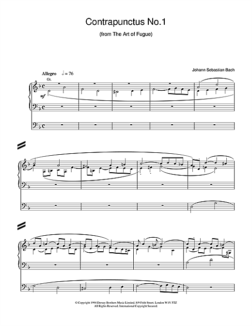 Johann Sebastian Bach Contrapunctus No.1 from The Art of Fugue sheet music notes and chords