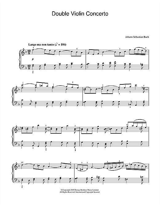 Johann Sebastian Bach Double Violin Concerto, 2nd Movement sheet music notes and chords. Download Printable PDF.