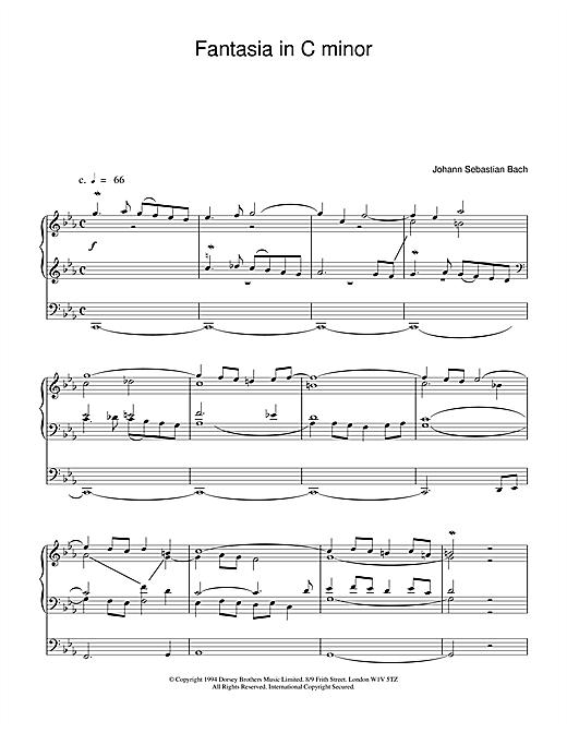 Johann Sebastian Bach Fantasia and Fugue in C Minor, BWV 537 sheet music notes and chords