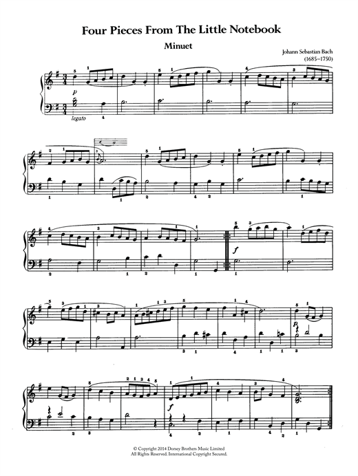Johann Sebastian Bach Four Pieces From The Little Notebook sheet music notes and chords