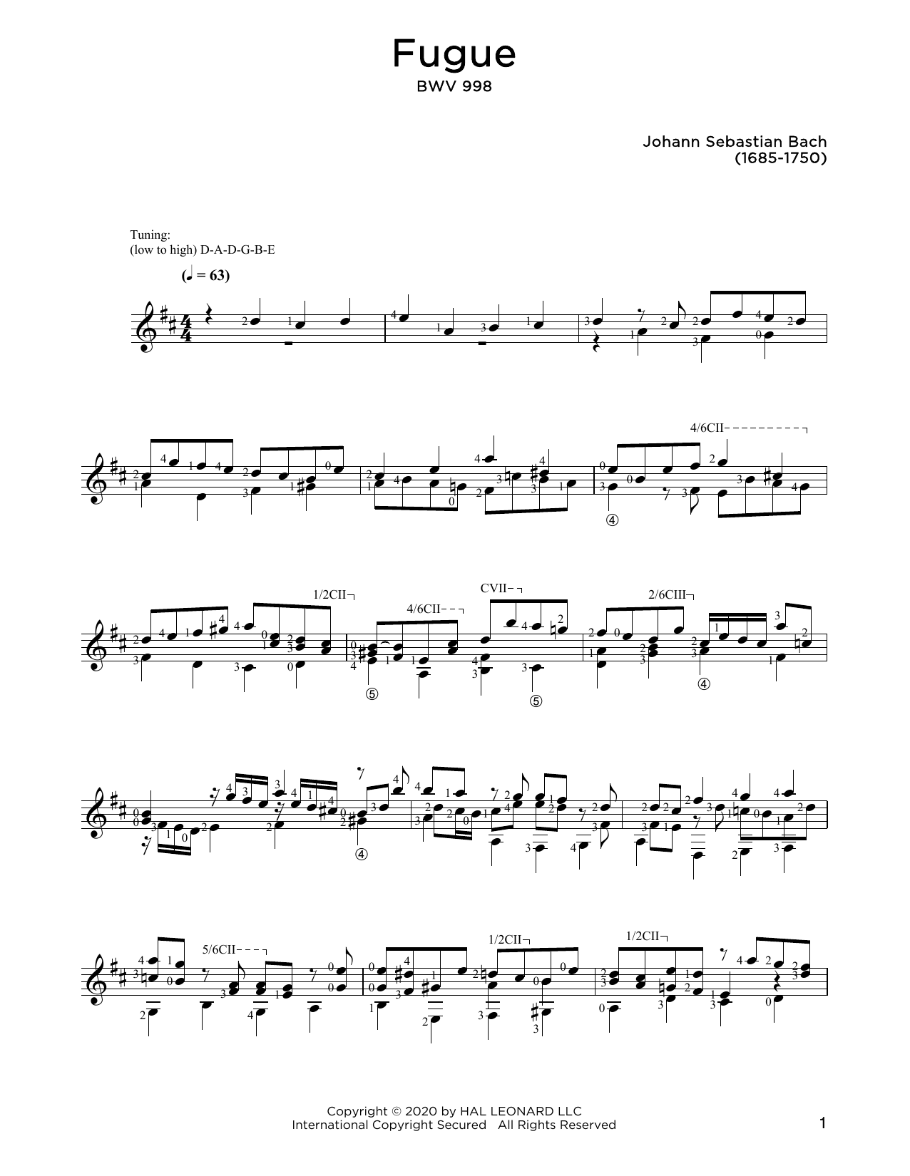 Johann Sebastian Bach Fugue In E-Flat Major, BWV 998 sheet music notes and chords. Download Printable PDF.