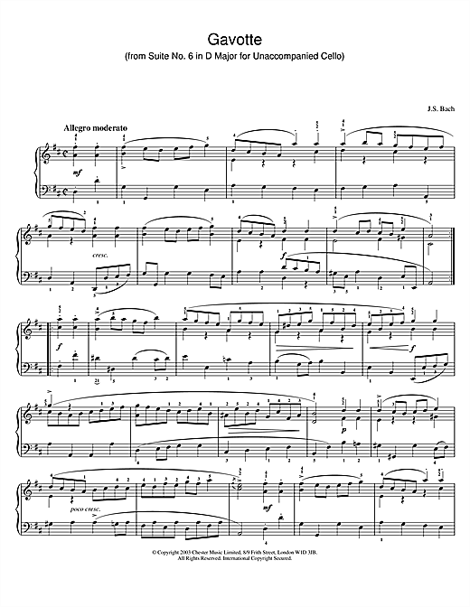 Johann Sebastian Bach Gavotte (from Suite No. 6 in D Major for Unaccompanied Cello) sheet music notes and chords. Download Printable PDF.