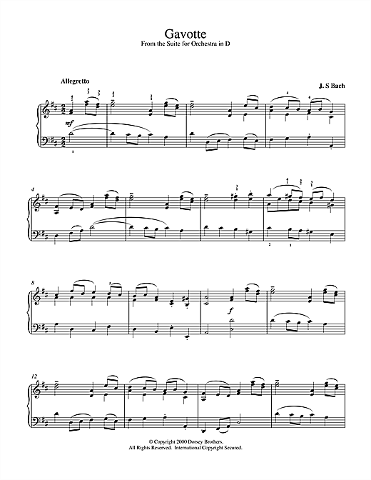 Johann Sebastian Bach Gavotte (from the Suite for Orchestra in D) sheet music notes and chords