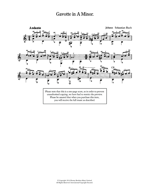 Johann Sebastian Bach Gavotte in A Minor sheet music notes and chords. Download Printable PDF.