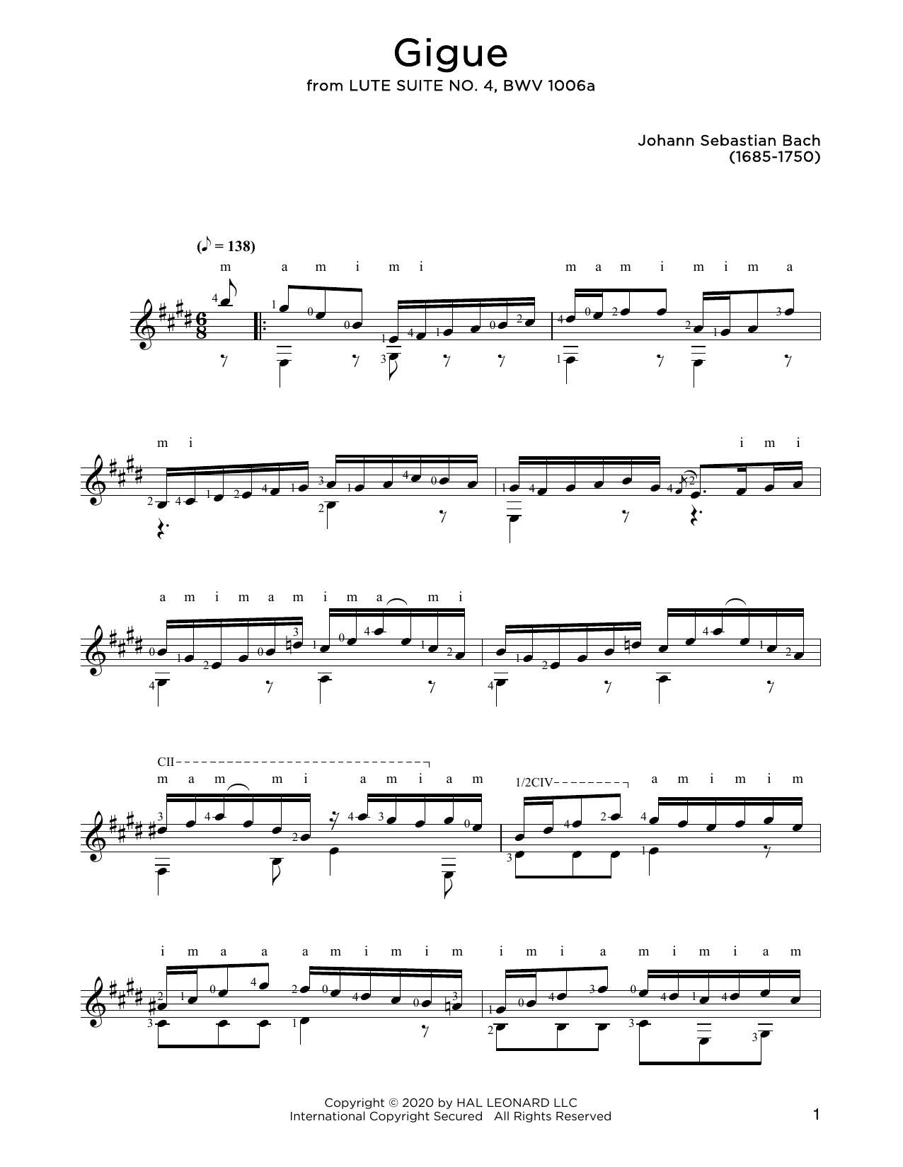 Johann Sebastian Bach Gigue sheet music notes and chords. Download Printable PDF.