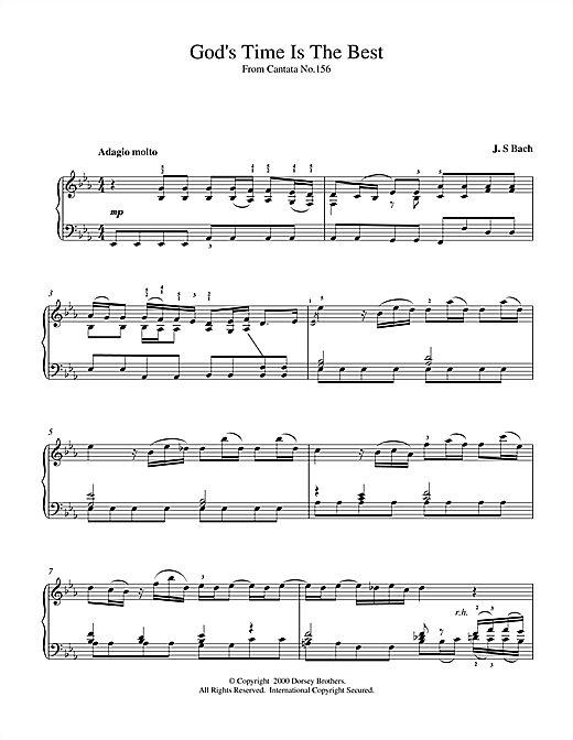 Johann Sebastian Bach God's Time Is The Best sheet music notes and chords