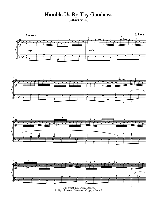 Johann Sebastian Bach Humble Us By Thy Goodness sheet music notes and chords