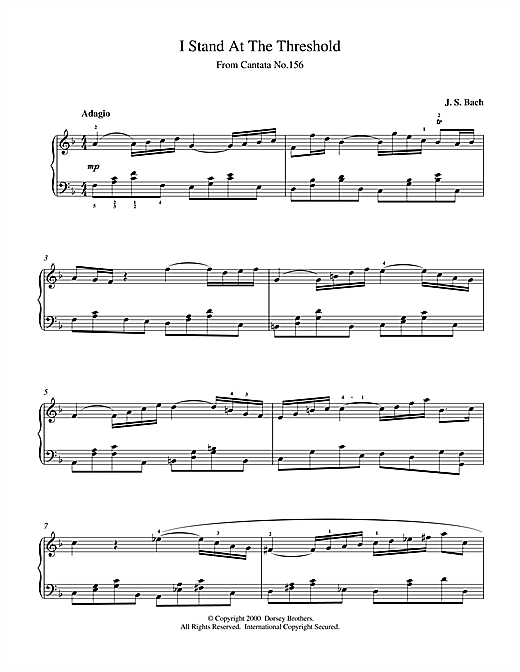 Johann Sebastian Bach I Stand At The Threshold sheet music notes and chords