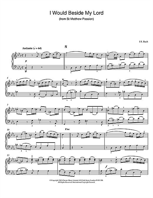 Johann Sebastian Bach I Would Beside My Lord (from St Matthew Passion) sheet music notes and chords