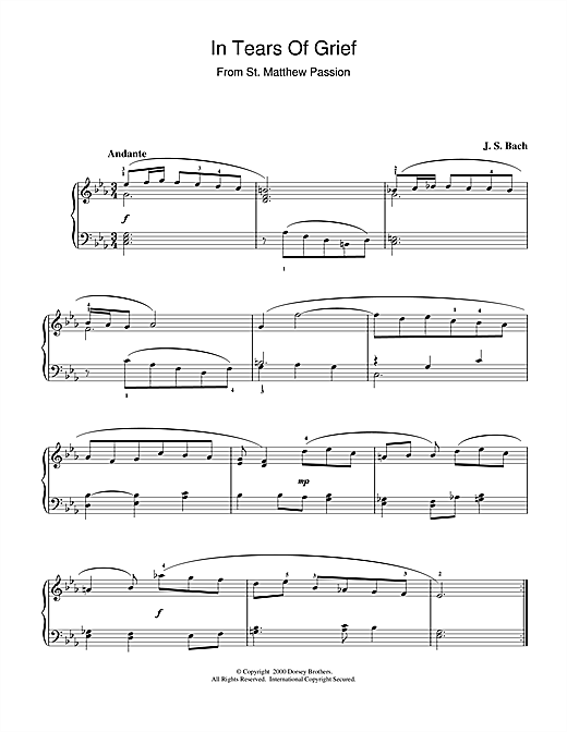 Johann Sebastian Bach In Tears Of Grief (from St Matthew Passion) sheet music notes and chords