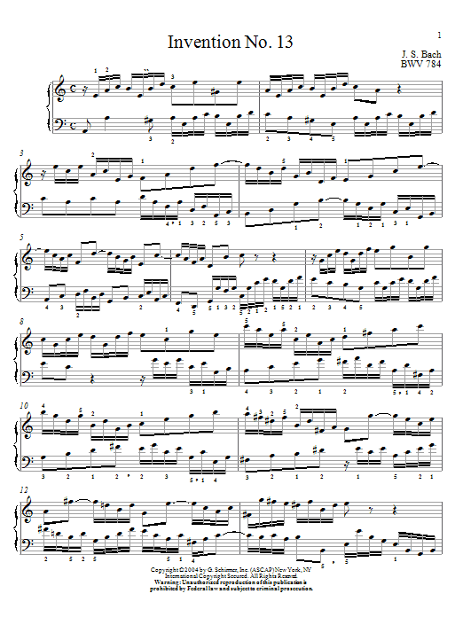 J.S. Bach Invention No.13 sheet music notes and chords. Download Printable PDF.