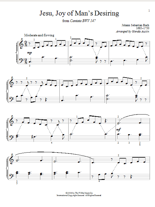 Johann Sebastian Bach Jesu, Joy Of Man's Desiring sheet music notes and chords. Download Printable PDF.