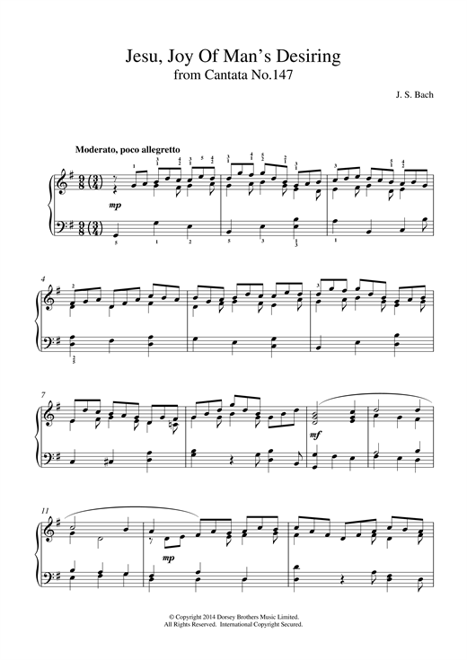 SATB Organ Accompaniment Sheet Mu Joy Of Man/'s Desiring SATB J.S Bach: Jesu