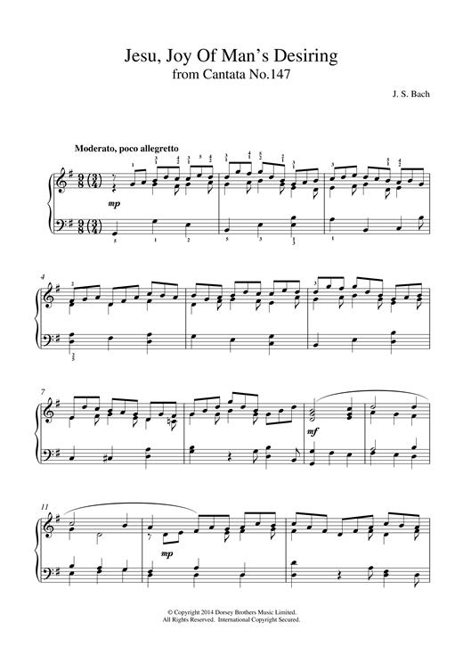 Johann Sebastian Bach Jesu, Joy Of Man's Desiring (from Cantata 147) sheet music notes and chords. Download Printable PDF.