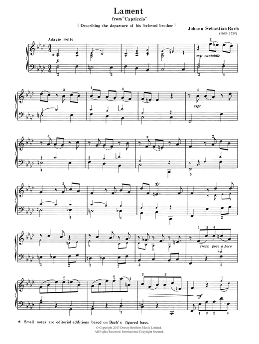 Johann Sebastian Bach Lament (from Capriccio) sheet music notes and chords