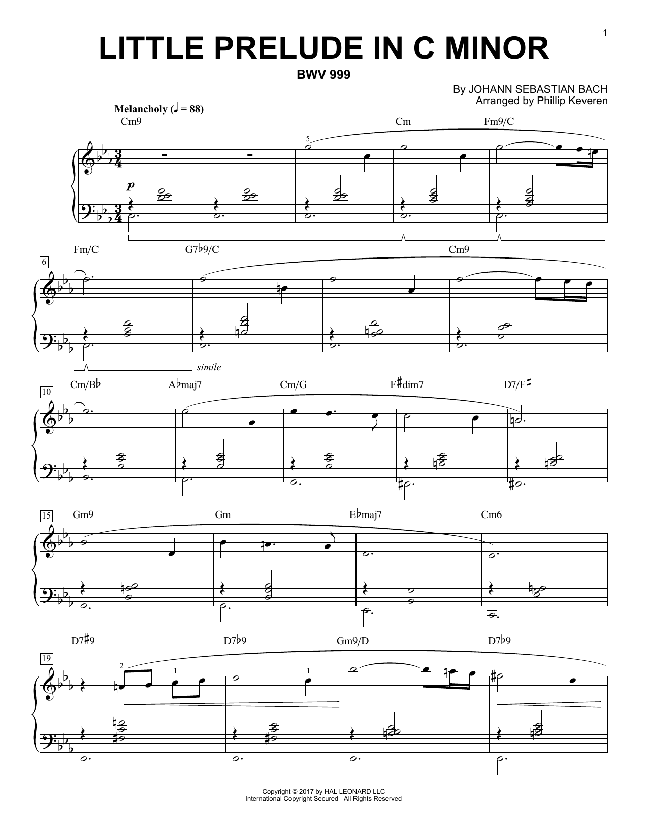 Johann Sebastian Bach Little Prelude in C Minor, BWV 999 [Jazz version] (arr. Phillip Keveren) sheet music notes and chords. Download Printable PDF.
