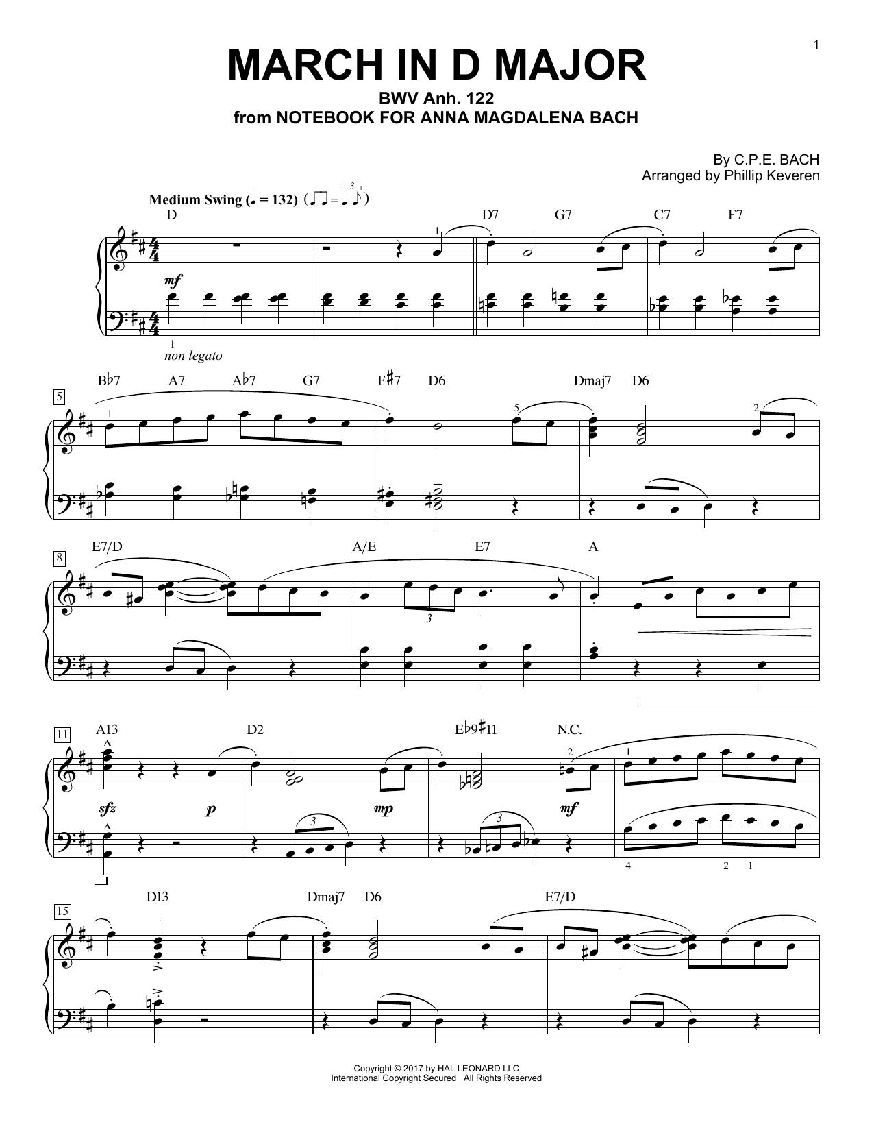 Johann Sebastian Bach March In D Major, BWV Anh. 122 [Jazz version] (arr. Phillip Keveren) sheet music notes and chords. Download Printable PDF.