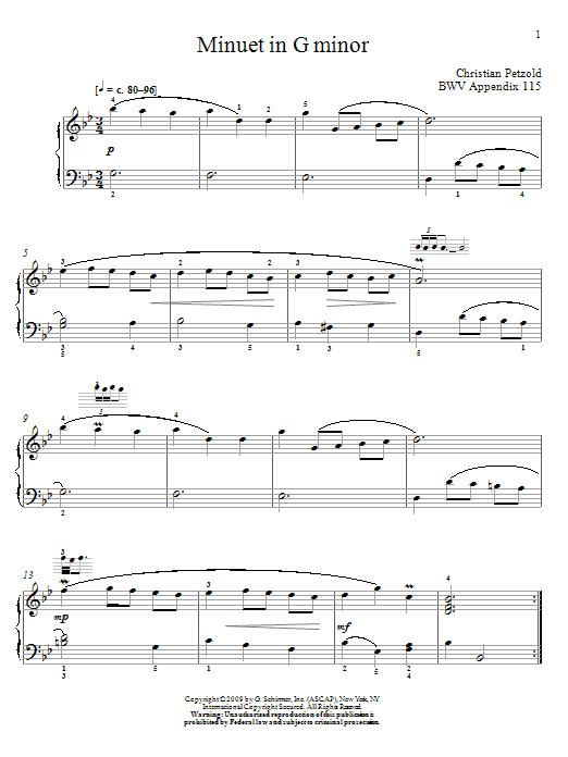 Johann Sebastian Bach Menuet In G Minor, BWV App. 115 sheet music notes and chords. Download Printable PDF.