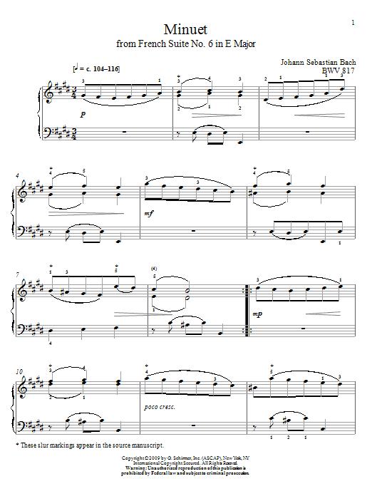Johann Sebastian Bach Minuet, BWV 817 sheet music notes and chords. Download Printable PDF.